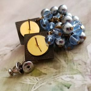 Jewelry - Sky blue crystal cluster earrings antique gold